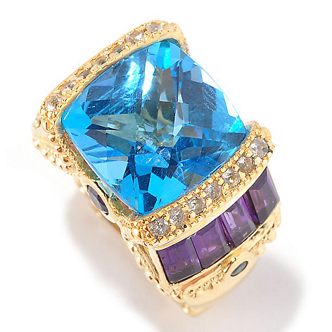 127-106 - Dallas Prince 11.26ctw Cushion Cut Swiss Blue Topaz & Multi Gemstone Ring