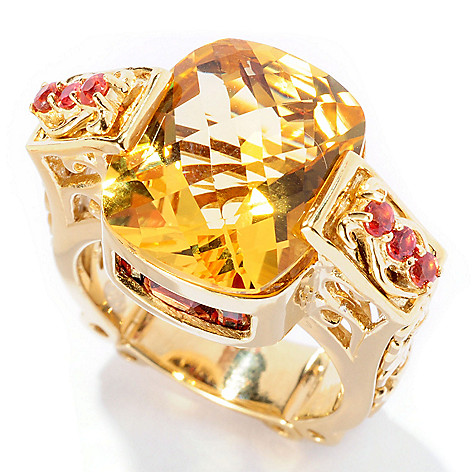 127-107 - Dallas Prince 9.05ctw Yellow Citrine & Gemstone Tall Ring