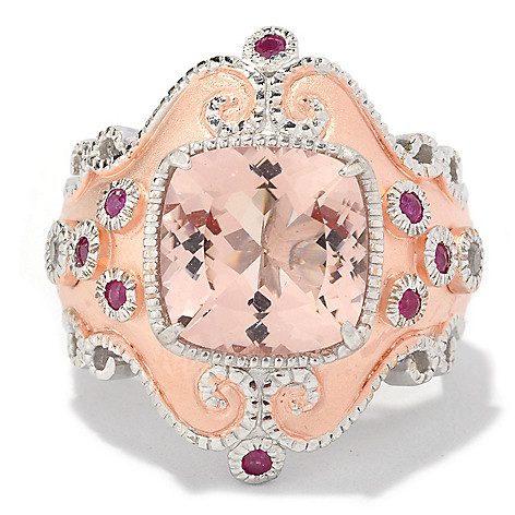 127-108 - Dallas Prince Designs 4.90ctw Pink Morganite, White Sapphire & Ruby Ring
