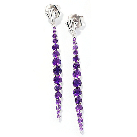 127-116 - Dallas Prince Designs Sterling Silver 2.75'' 5.96ctw Gemstone Drop Earrings