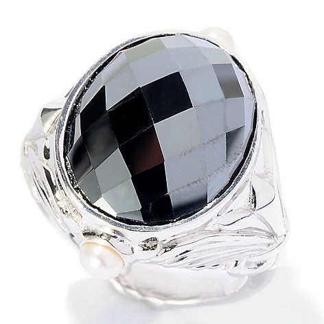 127-117 - Dallas Prince Sterling Silver 17 x 13mm Oval Black Hematite & Gemstone Ring