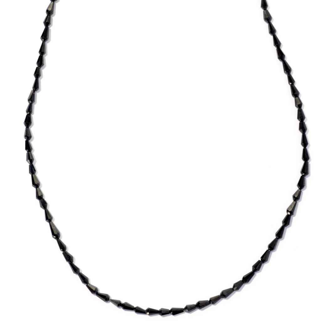 "127-130 - Gem Insider Sterling Silver 18"" Black Spinel Drop Shaped Bead Necklace"