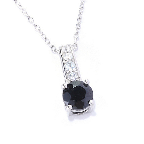 127-138 - Gem Treasures Sterling Silver Black Spinel & White Zircon Drop Pendant w/ Chain