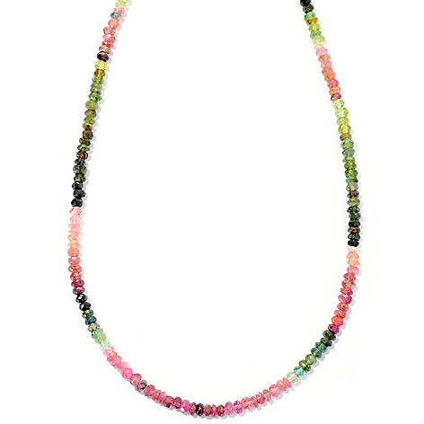 127-139 - Gem Insider Sterling Silver 24'' Multi Color Tourmaline Bead Necklace