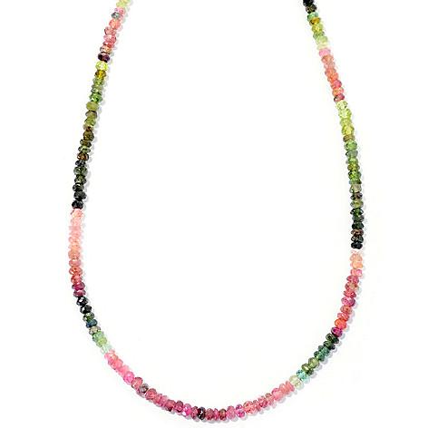 127-139 - Gem Insider Sterling Silver 24'' Multi Color Tourmaline Bead Necklace