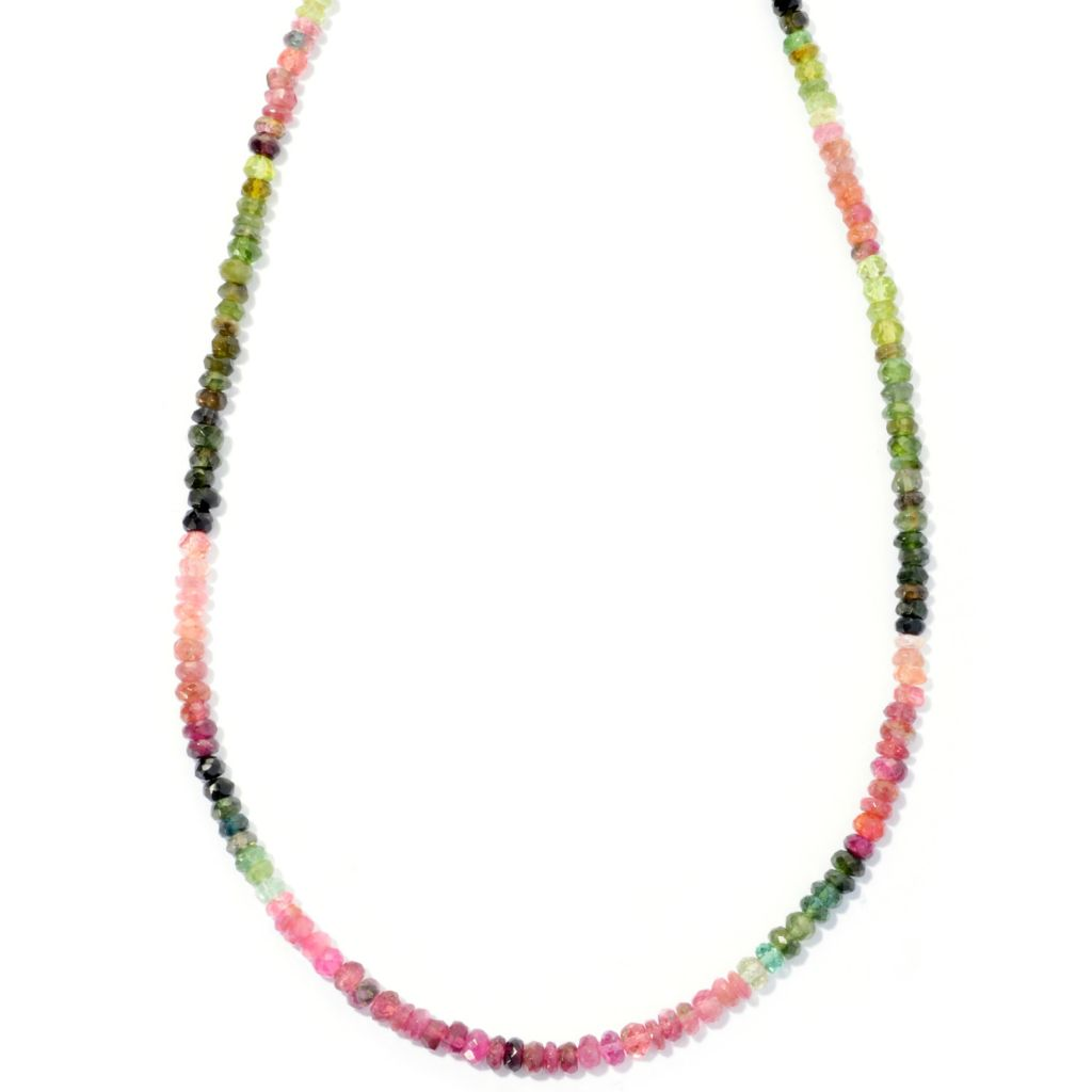 "127-139 - Gem Insider Sterling Silver 24"" Multi Color Tourmaline Bead Necklace"