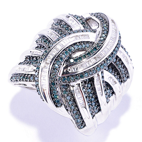 127-166 - Diamond Treasures® Sterling Silver 1.01ctw Blue & White Diamond Wide Band Ring