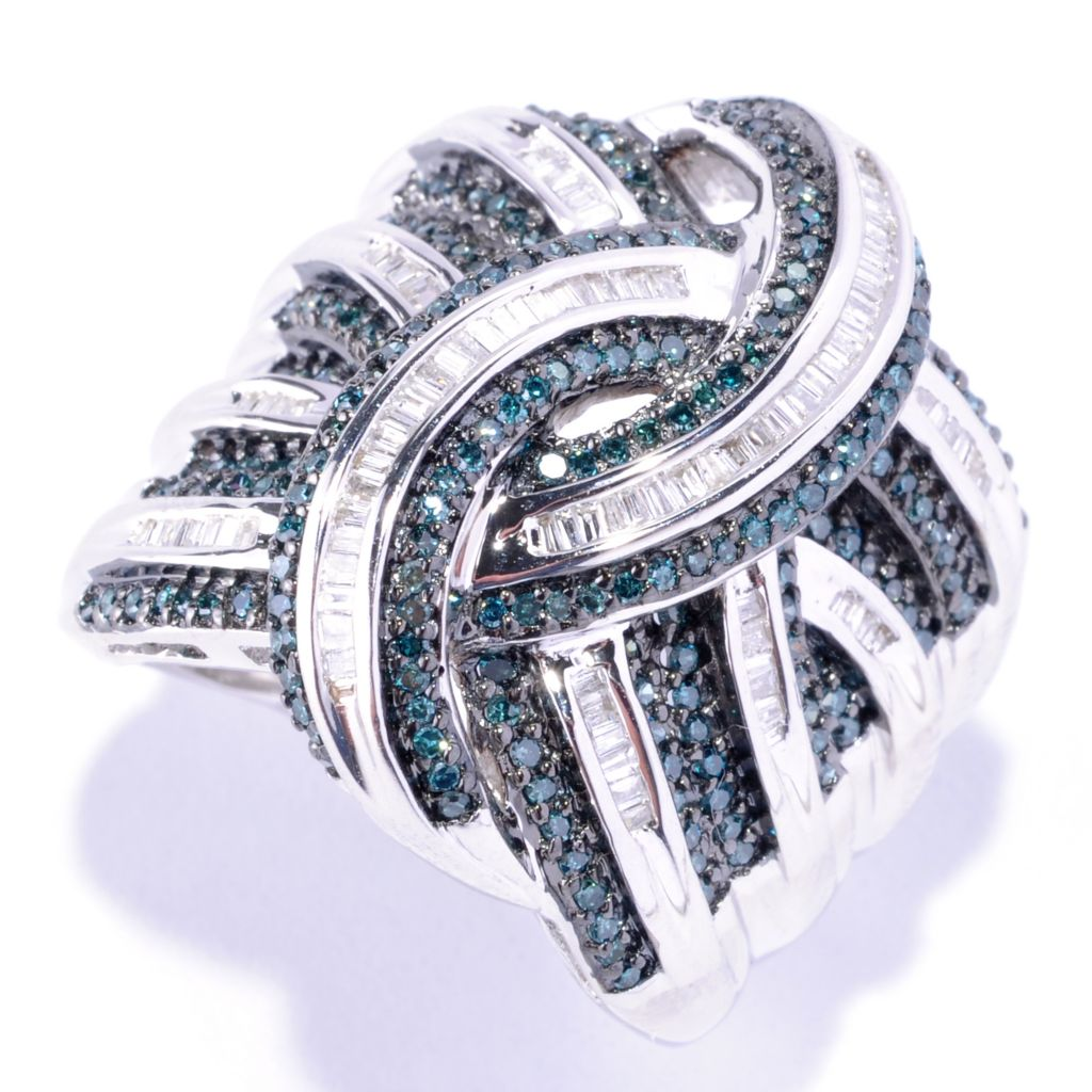 127-166 - Diamond Treasures Sterling Silver 1.01ctw Blue & White Diamond Wide Band Ring