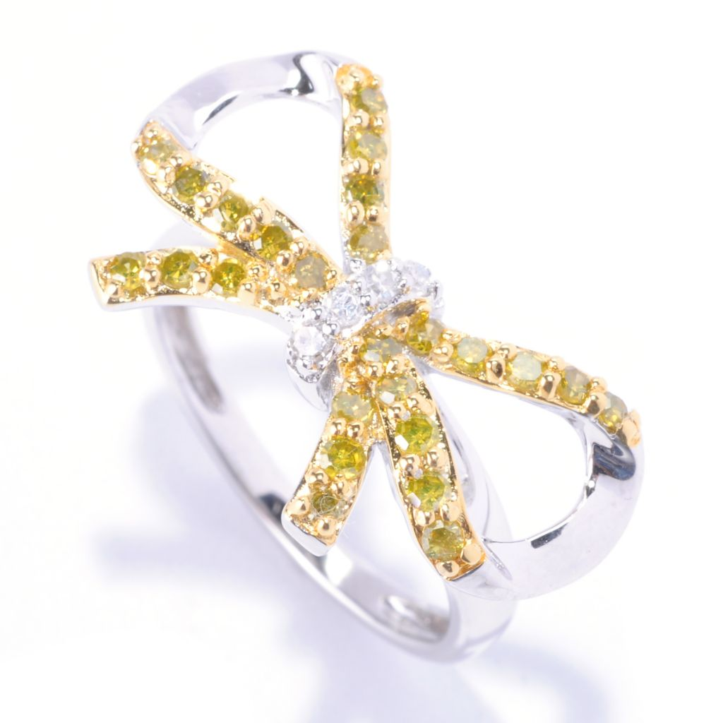 127-169 - Diamond Treasures Sterling Silver 0.54ctw White & Fancy Color Diamond Bow Ring