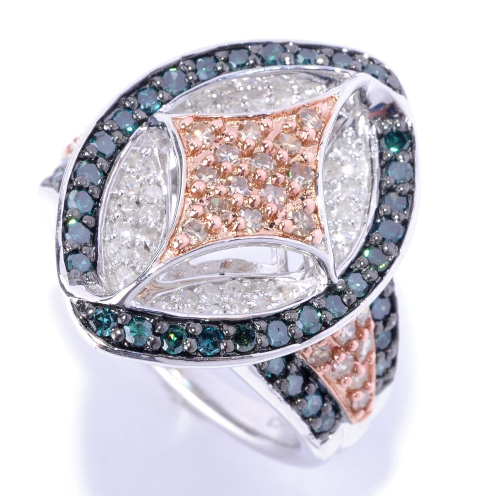 127-172 - Diamond Treasures Sterling Silver 1.56ctw Marquise Shaped Multi Color Diamond Ring