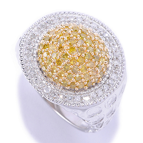 127-174 - Diamond Treasures Sterling Silver 1.01ctw White & Colored Diamond Dome Circle Ring
