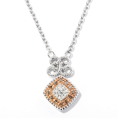 127-182 - Diamond Treasures Sterling Silver 0.32ctw White & Colored Diamond Pendant w/ Chain
