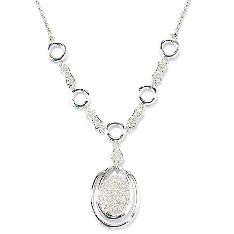 127-189 - Diamond Treasures Sterling Silver 18'' 0.51ctw Pave Diamond Circle Necklace