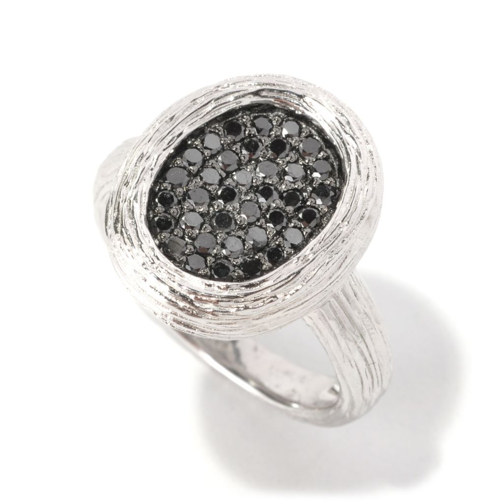 127-193 - EFFY Sterling Silver 0.45ctw Black Diamond Oval Balissima Ring