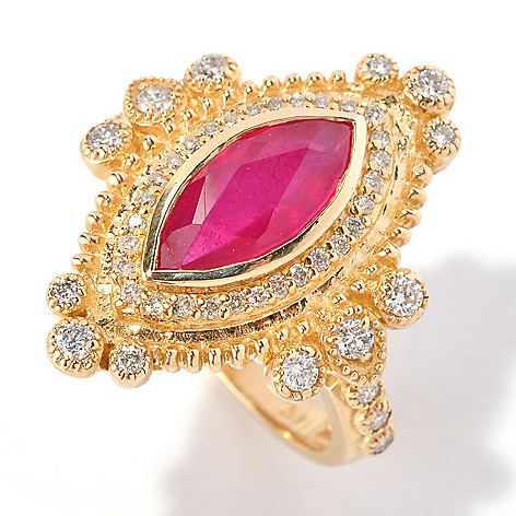 127-210 - EFFY 14K Gold 2.46ctw Innova Ruby & Diamond Marquise Ring