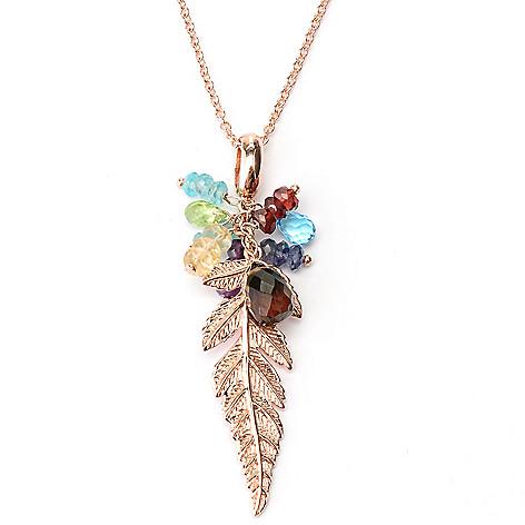 127-218 - Colette 9.99ctw Multi Gemstone Leaf Drop Pendant w/ 20.5'' Chain