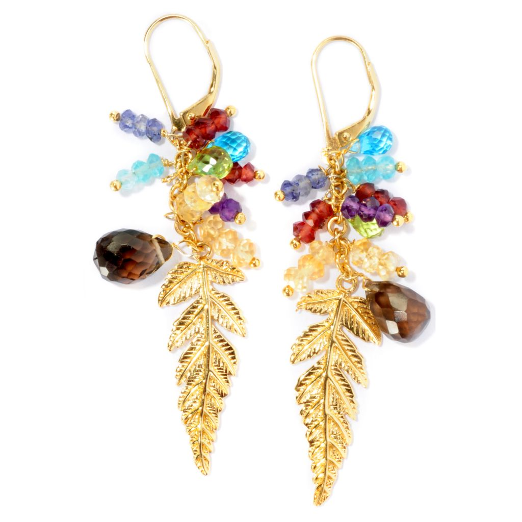 127-219 - Colette 13.62ctw Multi Gemstone Polished Leaf Drop Earrings