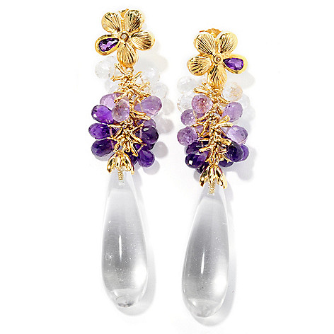 127-225 - Colette 2.5'' Rock Crystal, Multi Color Gemstone & Diamond Elongated Drop Earrings