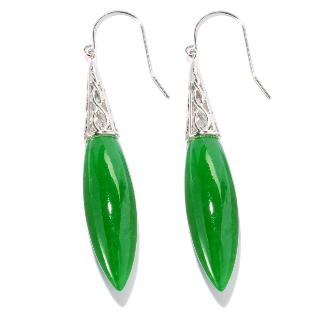 "127-239 - Sterling Silver 34 x 10mm Barrel Shaped Carved Jade 2.25"" Drop Earrings"