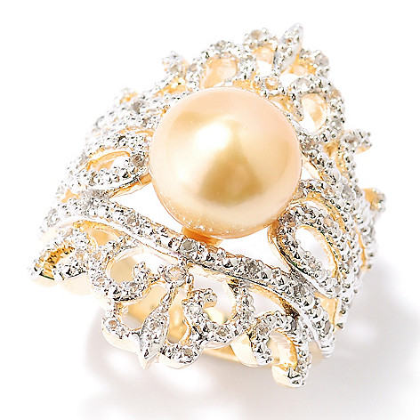 127-240 - 9-10mm Golden South Sea Cultured Pearl & White Topaz Scrollwork Ring