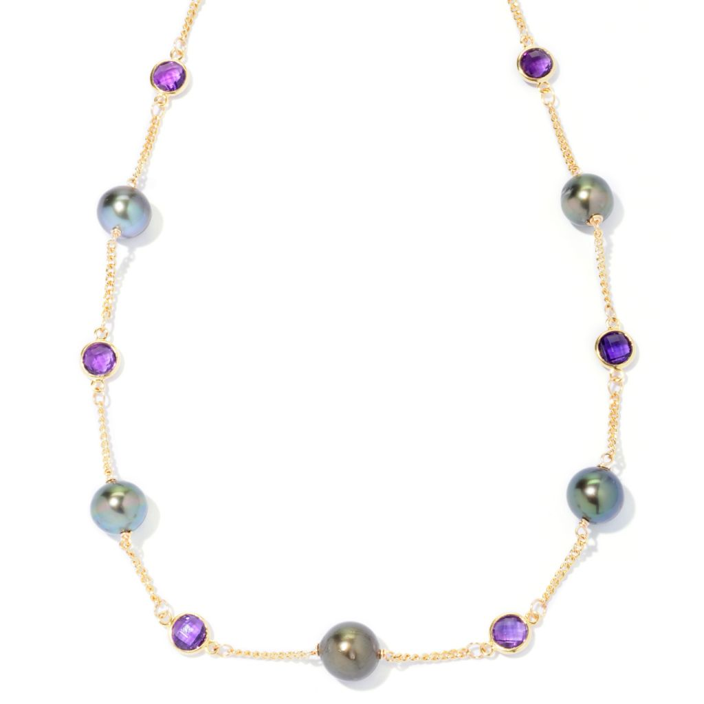 "127-248 - 20"" 9-10mm Black Tahitian Cultured Pearl & Purple Amethyst Station Necklace"