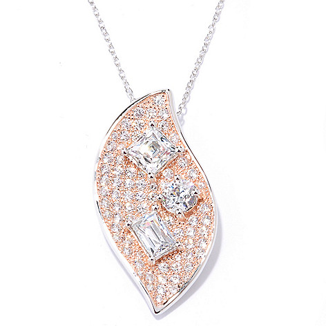 127-253 - TYCOON Two-tone 2.66 DEW Pave Simulated Diamond Pendant w/ 18'' Chain