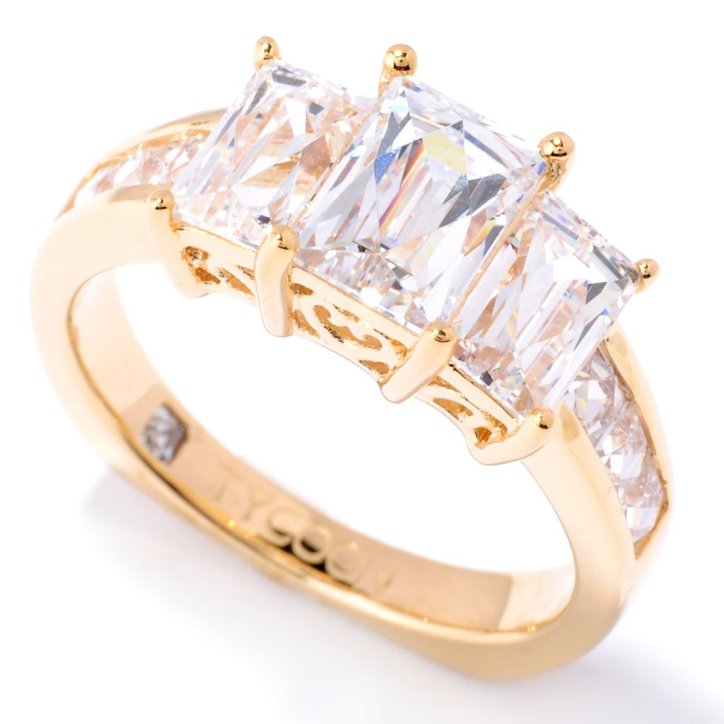 127-258 - TYCOON 2.30 DEW Rectangle Cut Simulated Diamond Three-Stone Ring