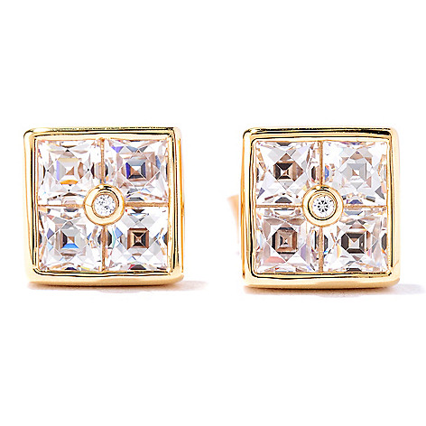 127-261 - TYCOON 1.50 DEW Square Cut Simulated Diamond Stud Earrings