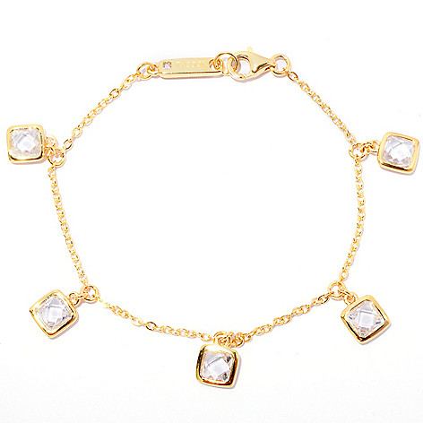 127-263 - TYCOON 3.57 DEW Square Bezel Set Simulated Diamond Dangle Bracelet