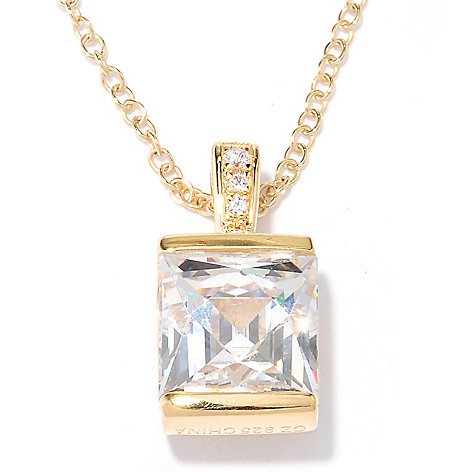 127-265 - TYCOON 3.06 DEW Square Tension Set Simulated Diamond Pendant w/ Chain