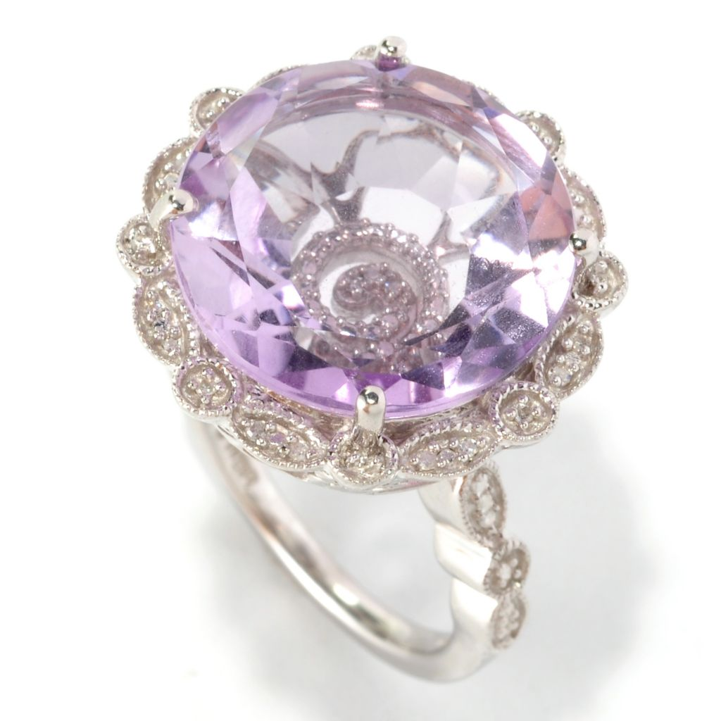 "127-289 - Glenn Bradford 7.33ctw Pink Amethyst & Diamond ""Gwenn II"" Cocktail Ring"