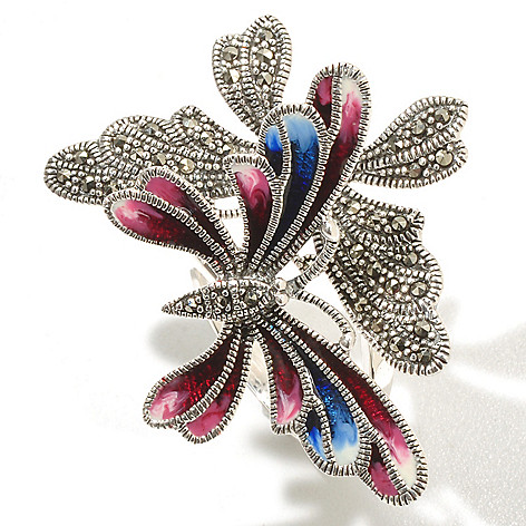 127-325 - Dallas Prince Sterling Silver Butterfly Ring Made w/ Swarovski&reg: Marcasite
