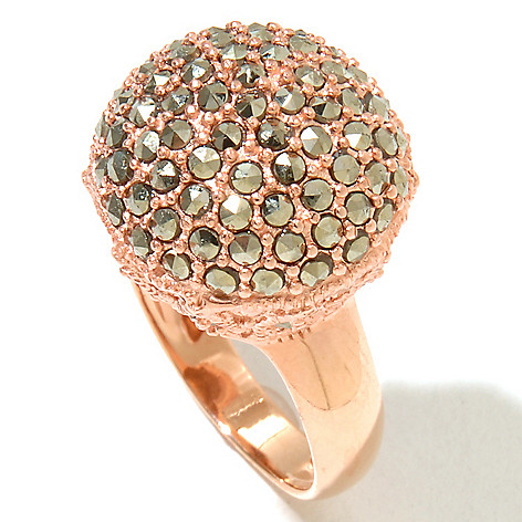 127-326 - Dallas Prince 18K Rose Vermeil Dome Ring Made w/ Swarovski® Marcasite
