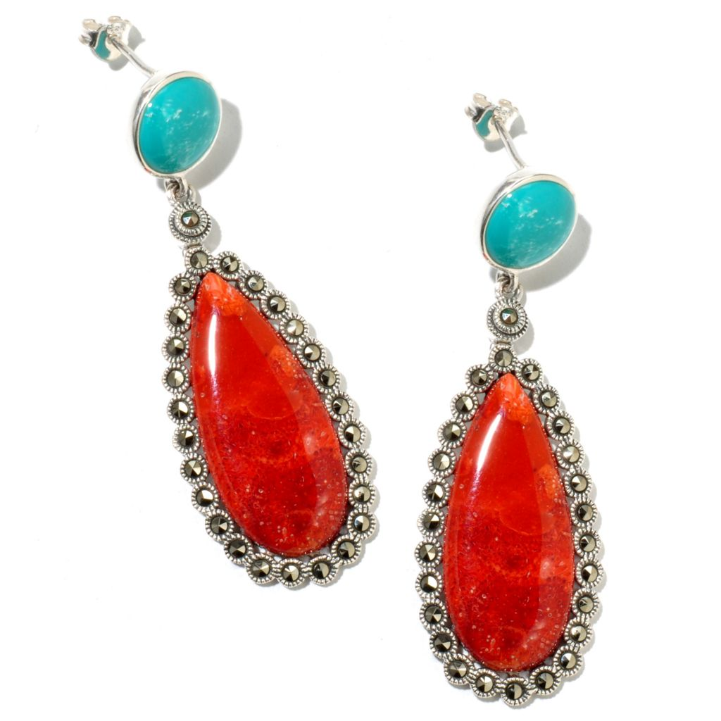 127-327 - Dallas Prince Sterling Silver Coral Earrings Made w/ Swarovski® Marcasite