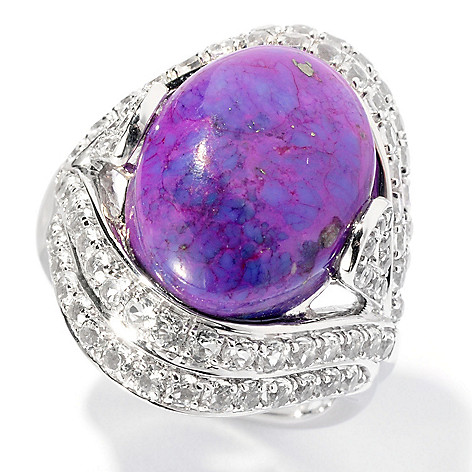 127-331 - Gem Insider Sterling Silver 16 x 12mm Oval Purple Turquoise & White Topaz Ring