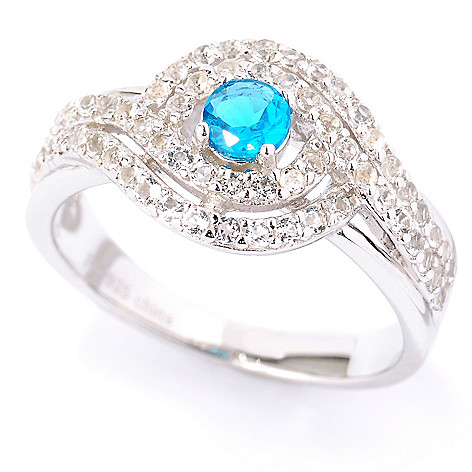127-339 - Gem Treasures Sterling Silver Neon Blue Apatite & White Topaz Swirl Ring