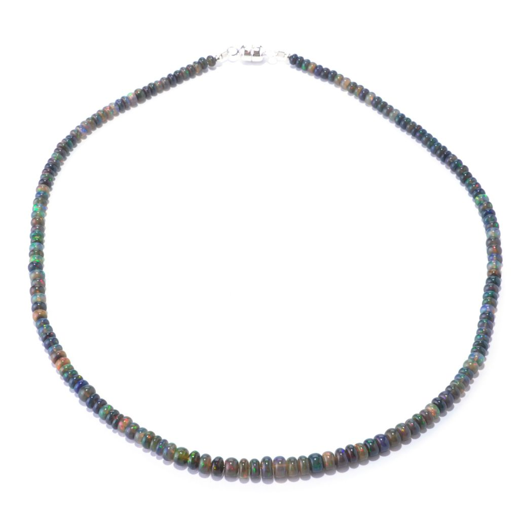 "127-340 - Gem Insider Sterling Silver 18"" Ethiopian Smoked Opal Bead Necklace w/ Magnetic Clasp"
