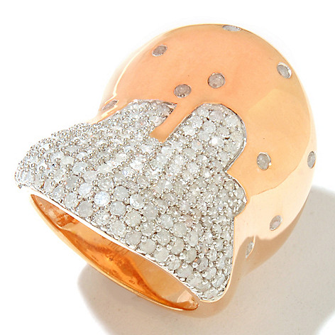 127-347 - Southport Diamonds Sterling Silver & 14K Vermeil 2.00ctw Diamond Abstract Wide Ring