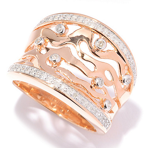 127-357 - Southport Diamonds Sterling Silver & 14K Rose Vermeil 0.25ctw Diamond Cut-Out Wave Ring