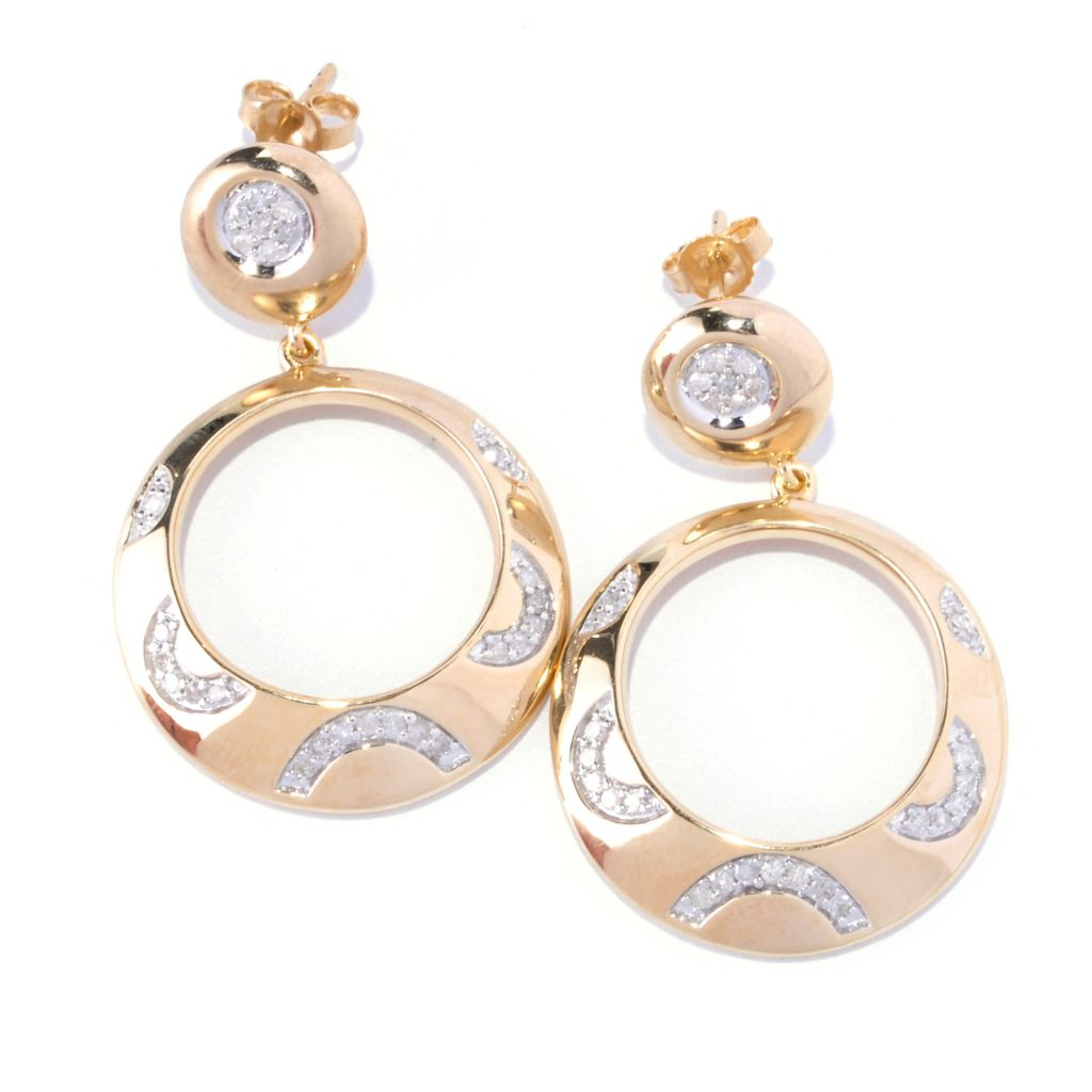 127-358 - Southport Diamonds Sterling Silver & 14K Vermeil 0.50ctw Diamond Front-Facing Hoop Earrings