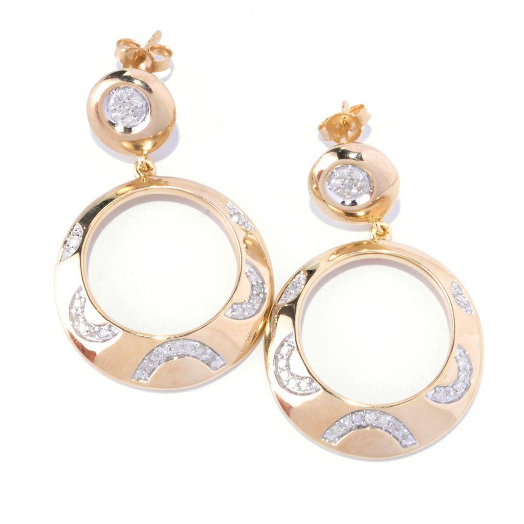 127-358 - Southport Diamonds Sterling Silver & 14K Vermeil 0.50ctw Diamond Front-Facing Hoop Earrings
