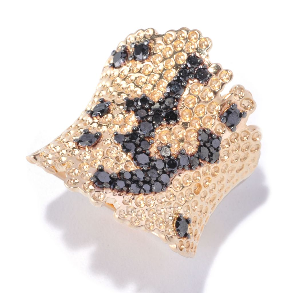 127-361 - Southport Diamonds Sterling Silver & 14K Vermeil 1.00ctw Black Diamond Ring