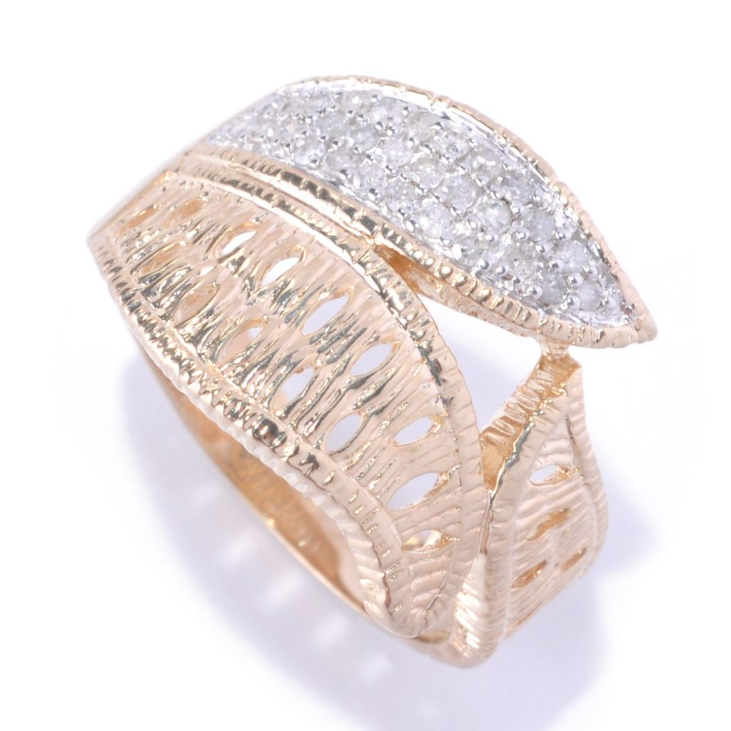 127-365 - Southport Diamonds Sterling Silver & 14K Vermeil 0.20ctw Diamond Three-Leaf Ring
