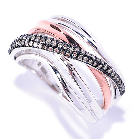 127-409 - Diamond Treasures 14K White & Rose Gold 0.32ctw Diamond Crisscross Ring