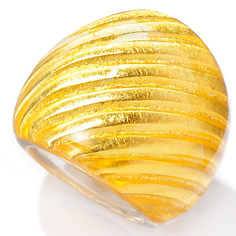 127-421 - Italian Designs with Stefano 24K ''Oro Puro'' Gold Foil Satin-Design Dome Ring