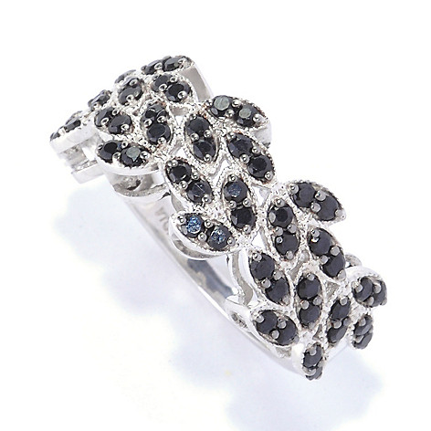 127-426 - Gem Treasures Sterling Silver 1.16ctw Black Spinel Marquise Band Ring