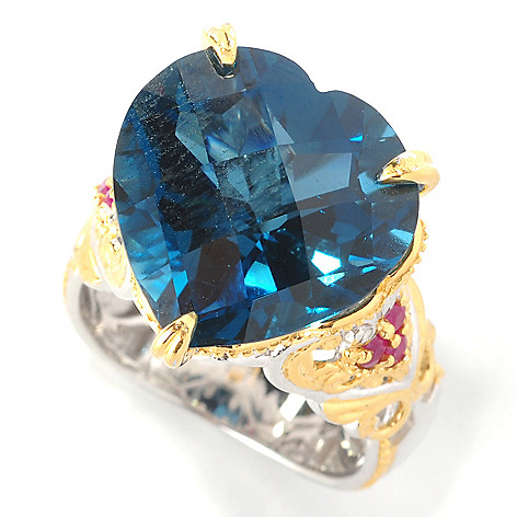 127-435 - Gems en Vogue II 14.41ctw Heart-Shaped London Blue Topaz & Ruby Ring