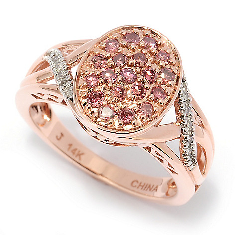 127-443 - Diamond Treasures 14K Rose Gold 0.50ctw Pink & White Diamond Oval Ring