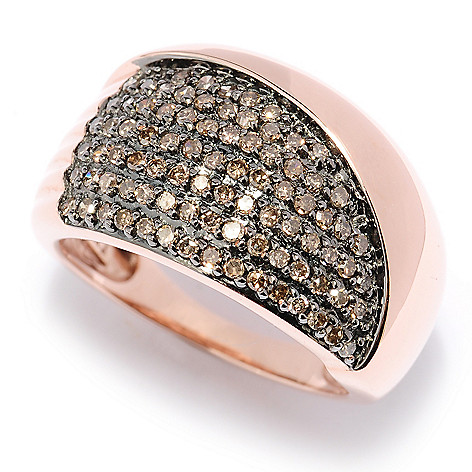 127-449 - Diamond Treasures 14K Rose Gold 0.50ctw Mocha Diamond Wide Band Ring