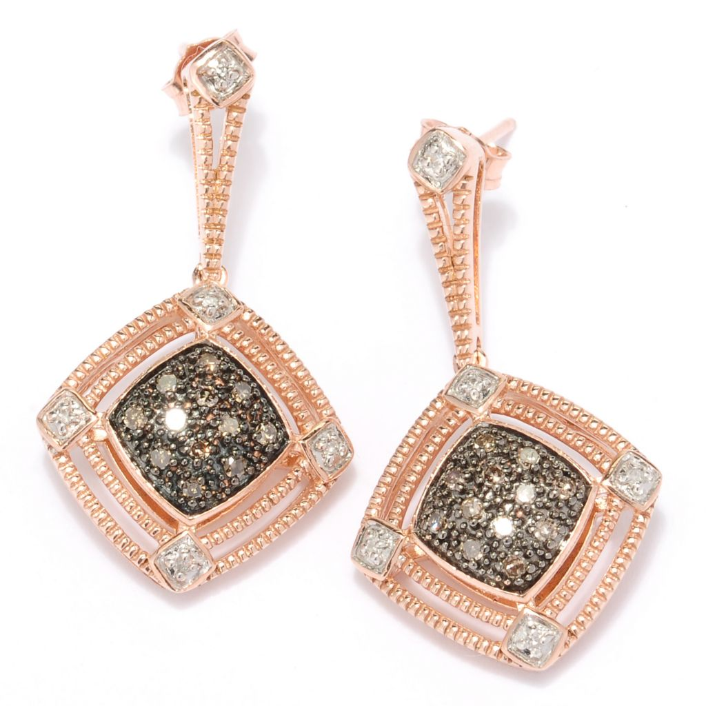 127-452 - Diamond Treasures 14K Rose Gold 0.25ctw Mocha & White Diamond Earrings
